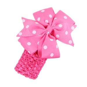 Other - Girl's Hot Pink Polka Dot Ribbon Headband